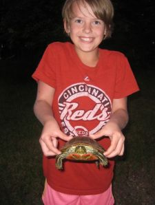 Ellie and a turtle